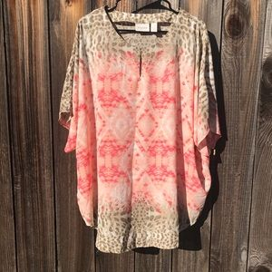 Chico's Sz 4 (XXL) Tie-Dye Animal Print Tunic